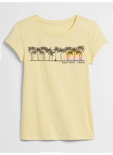 Gap Grafik Desenli Kısa Kollu T-Shirt Sarı